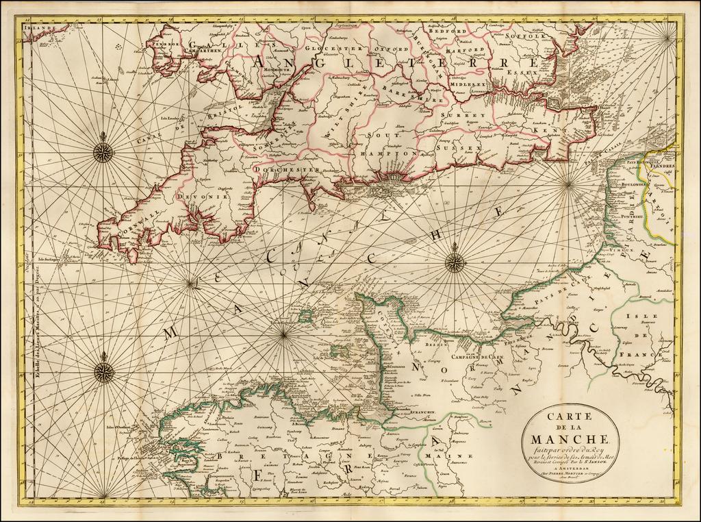 Carte De La Manche faite par ordre du Roy pour le Service de Les Armees de Mer. Reveue et Corrigee Par le Sr. Sanson . . .  By Pieter Mortier