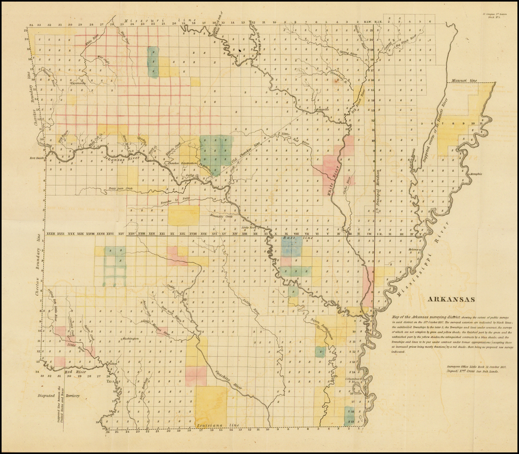 Arkansas - Map of the Arkansas surveying district shewing the extent public surveys in said district on the 31st of October 1837 . . .  By General Land Office