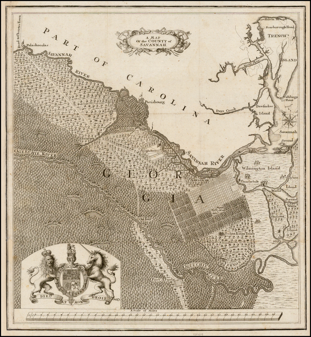 A Map of the County of Savannah By James Oglethorpe / Samuel Urlspurger