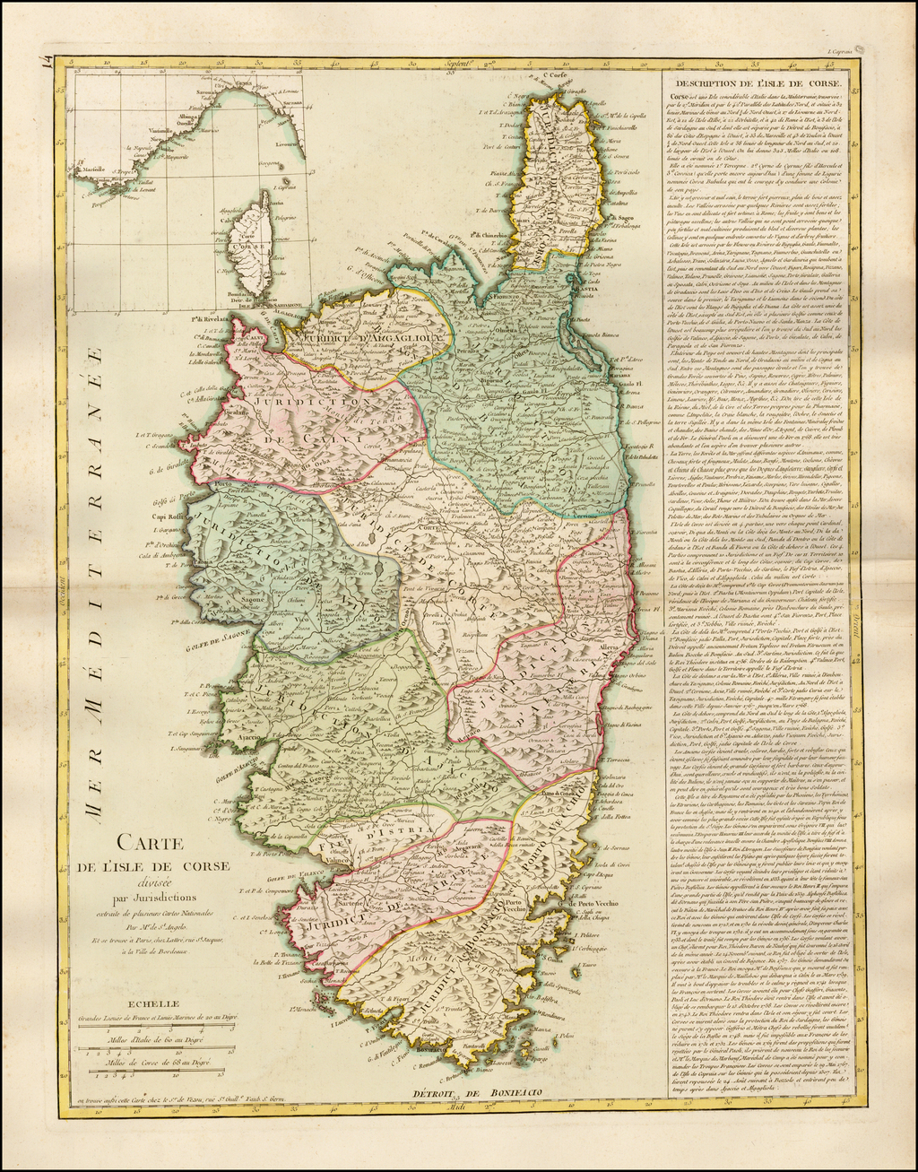 Carte de l'Isle de Corse divisee par Jurisdictions extraite de plusiuers Cartes Nationales Par Mr de St. Angelo . . .  By Jean Lattre / Louis Claude de Vezou