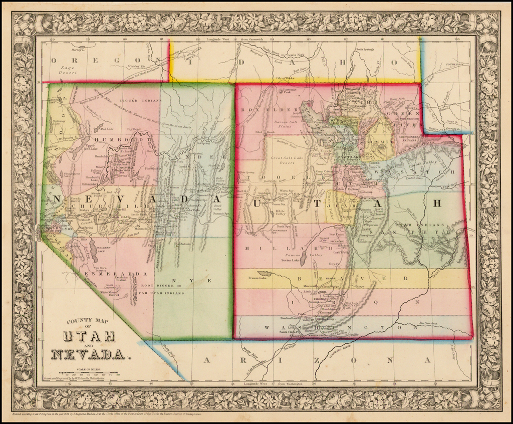 County Map of Utah and Nevada By Samuel Augustus Mitchell Jr.