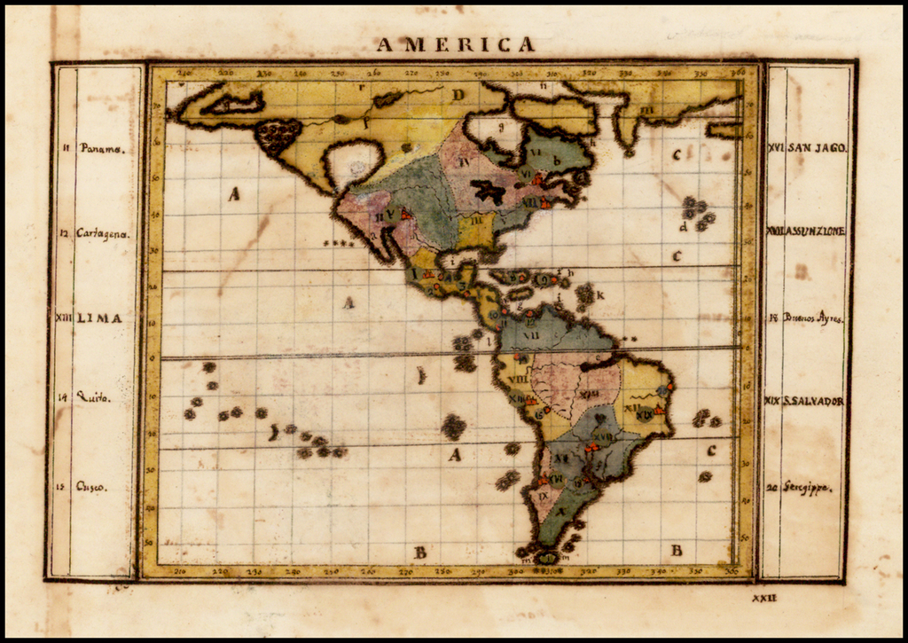America [Manuscript Map Showing the Sea of the West!] By Anonymous