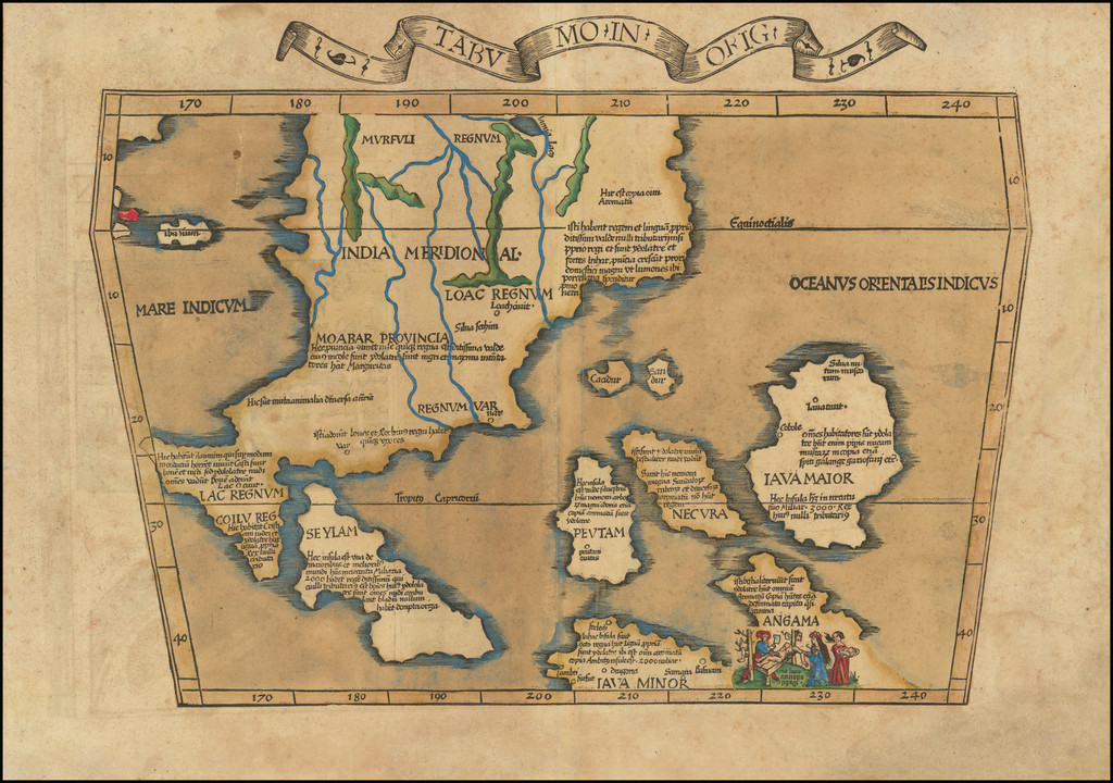 [Southeast Asia] Tabu. Mo. In. Orig.  (First Modern Map of Southeast Asia -- Old Color) By Lorenz Fries