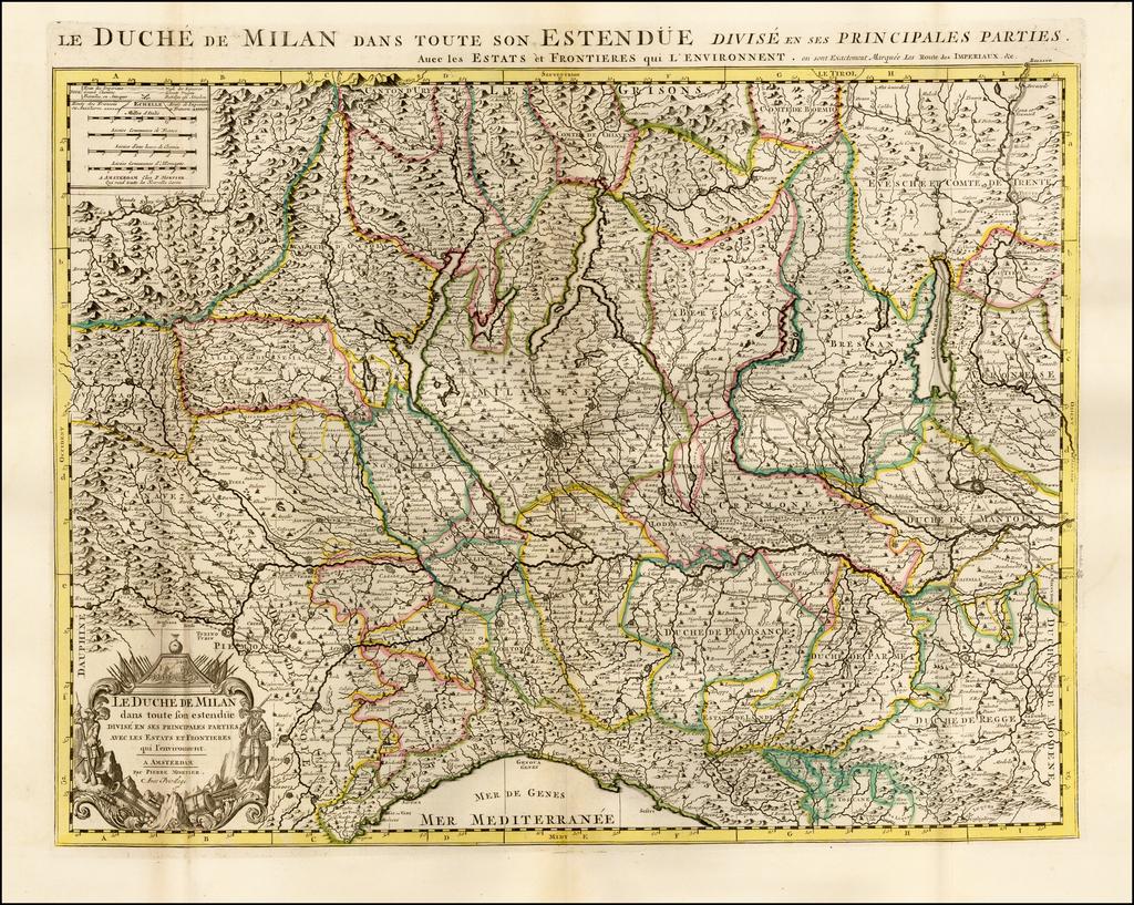 Le Duche de Milan dans son estendue Divise en ses Principales Parties avec les Estats et Frontieres qui l'environnet . . . By Pieter Mortier