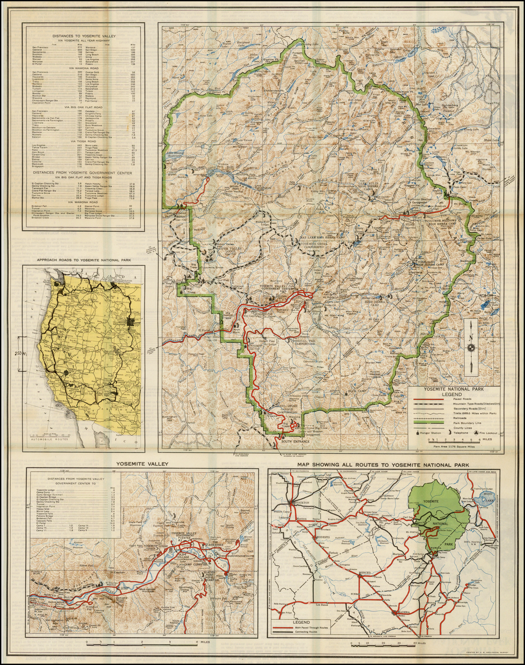 Guide Map Yosemite National Park . . . 1939 By United States Department of the Interior
