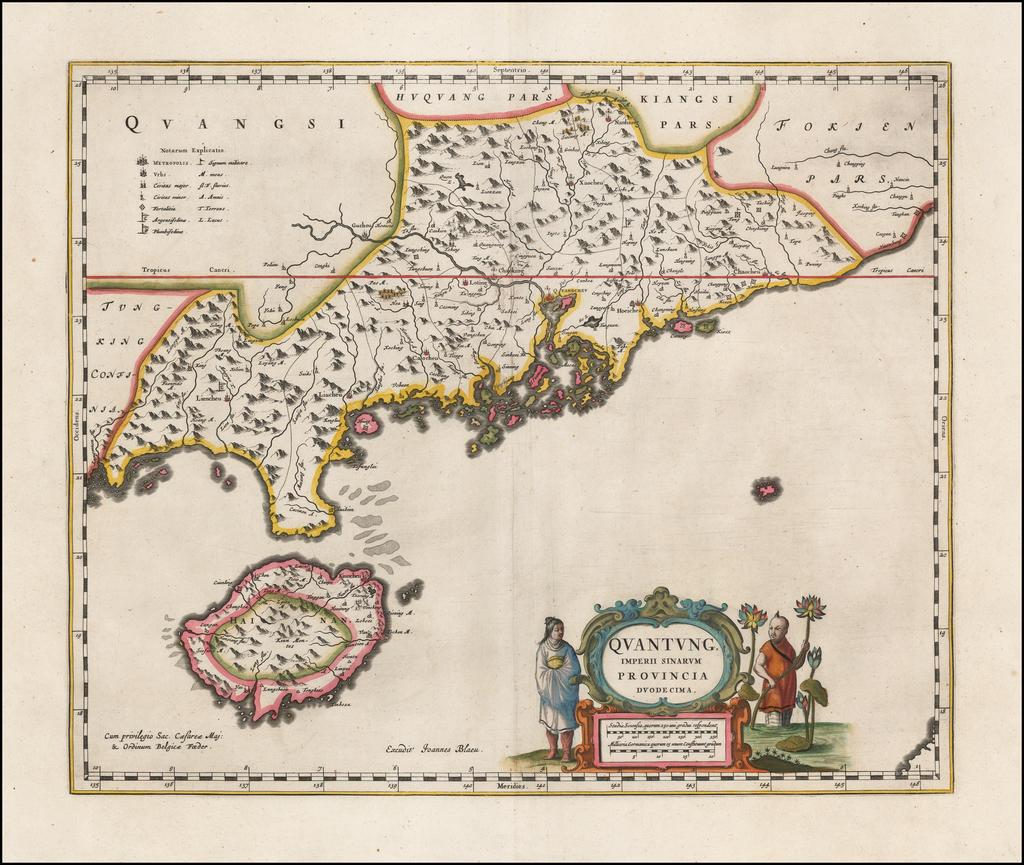 Quantung Imperii Sinarum Provincia Duodecima (includes Hong Kong region) By Johannes Blaeu