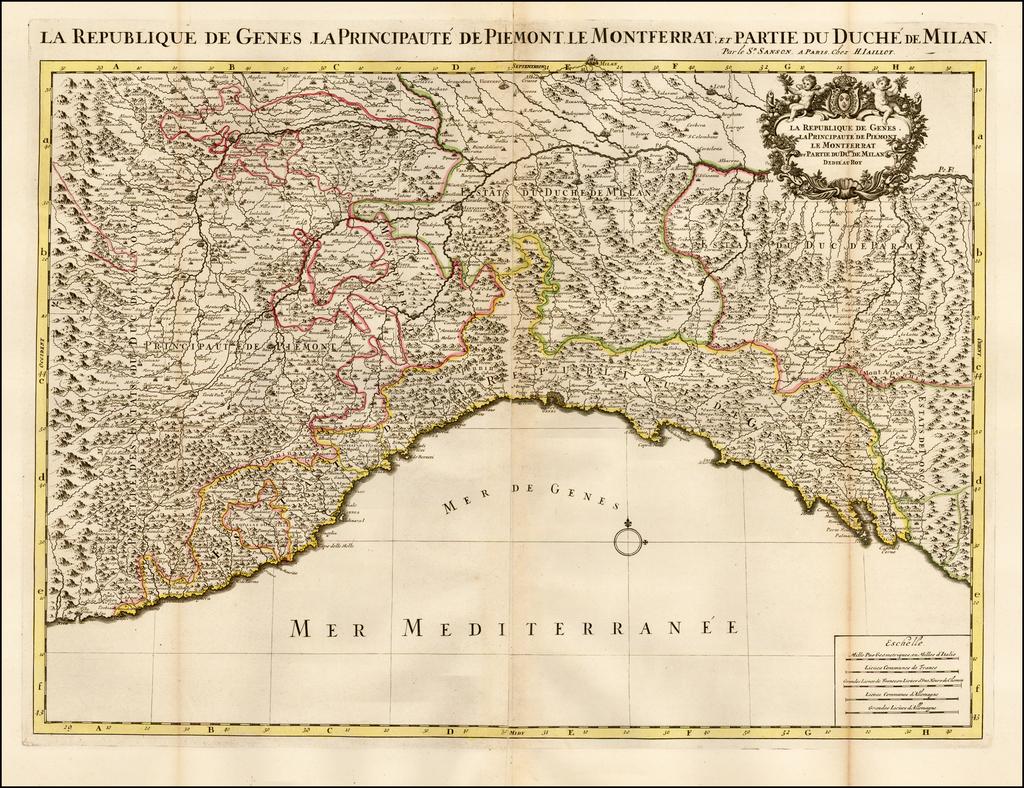 La Republique De Genes, La Principaute de Piemont Le Montferate et Partie du Duche de Milan . . .   By Alexis-Hubert Jaillot