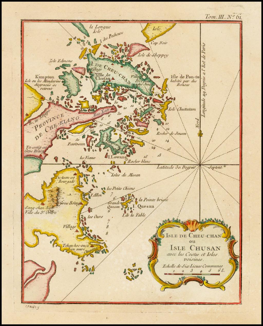 Carte de l' Isle de Cheu-Chan ou Isle de Chusan avec les Costes et Isles voisines By Jacques Nicolas Bellin