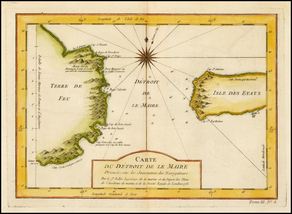 Carte du Detroit De Le Maire, Dressee sur les Journaux de Navigateurs . . . 1753 By Jacques Nicolas Bellin