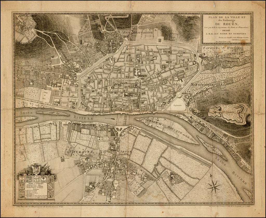 Plan de la Ville et des Faubourgs de Rouen . . . Dedie A.M.M. Les Mairs et Echevins . . . 1784 By Jean Lattre