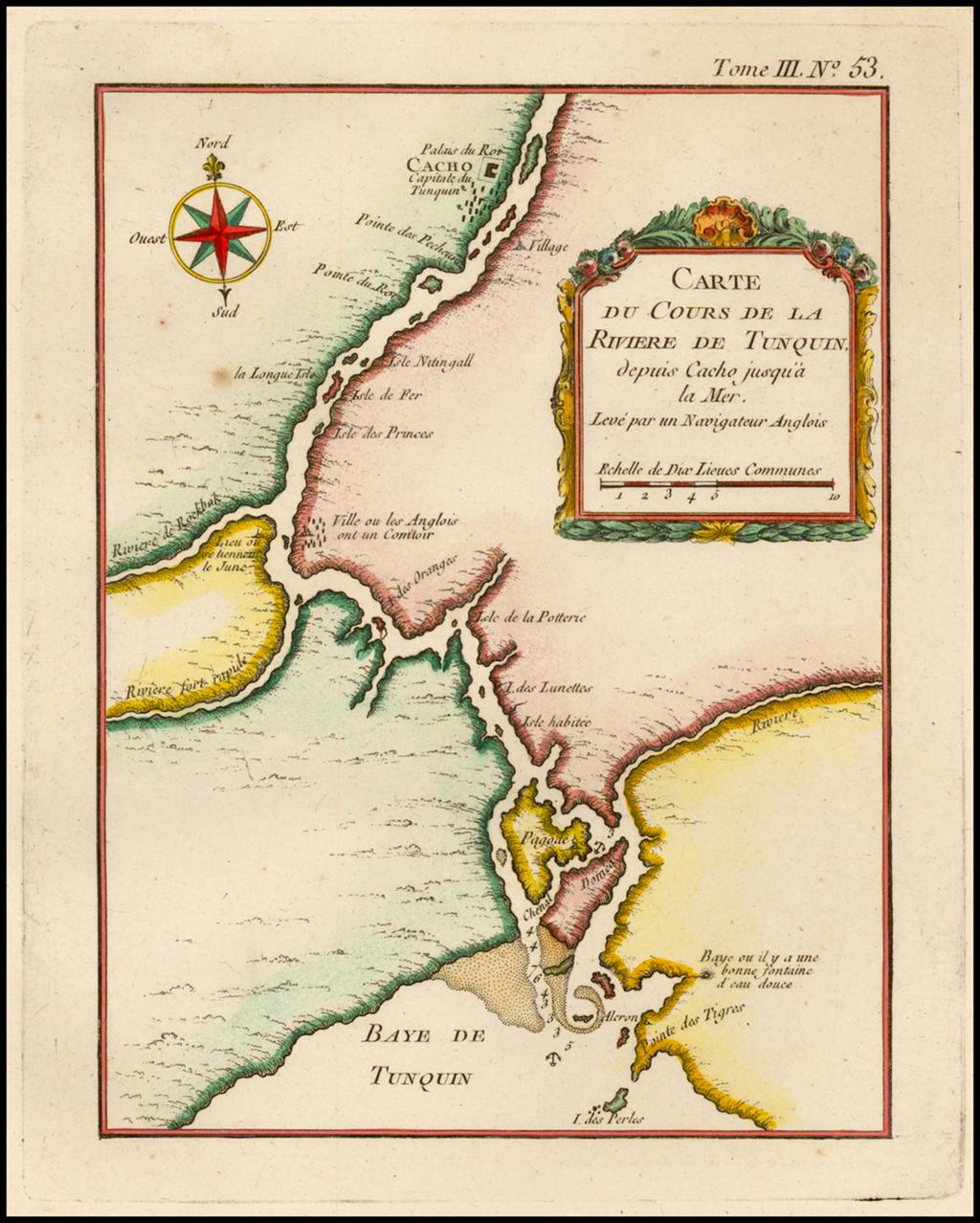 Carte Du Cours De La Rivier De Tunquin Depuis Cacho jusqu'a la Mer By Jacques Nicolas Bellin