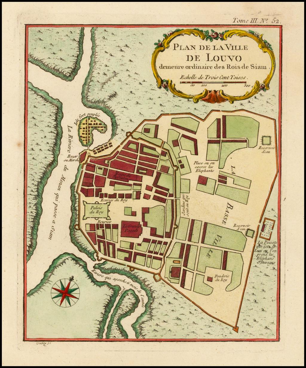 [Lopburi, Thailand]  Plan de la Ville de Louvo demeure ordinaire des Rois de Siam By Jacques Nicolas Bellin