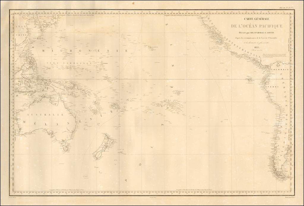 Carte Generale De L'Ocean Pacific Dressee par M.M. D'Urville et Lottin d'apres les reconnaissances de la Corvette l'Astrolabe et les cecouvertes les plus recentes 1833.  Revue en 1834. By Jules Sebastian Cesar Dumont-D'Urville