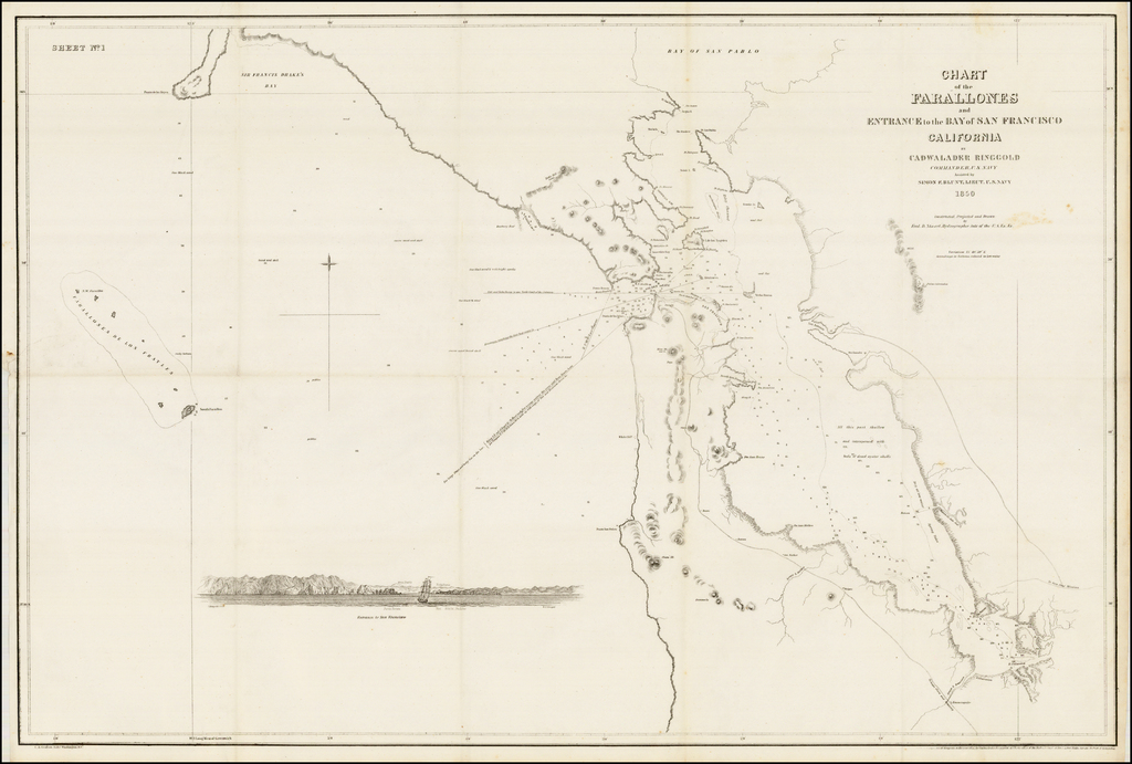 Chart of the Farallones and Entrance to the Bay of San Francisco... 1850 By Cadwalader Ringgold
