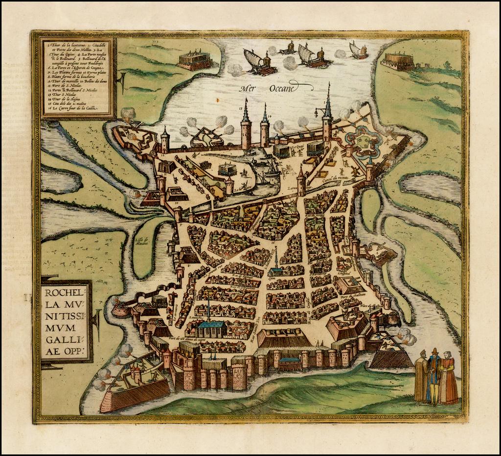 [La Rochelle]  Rochella Munitissimum Galliae Opp. By Georg Braun  &  Frans Hogenberg