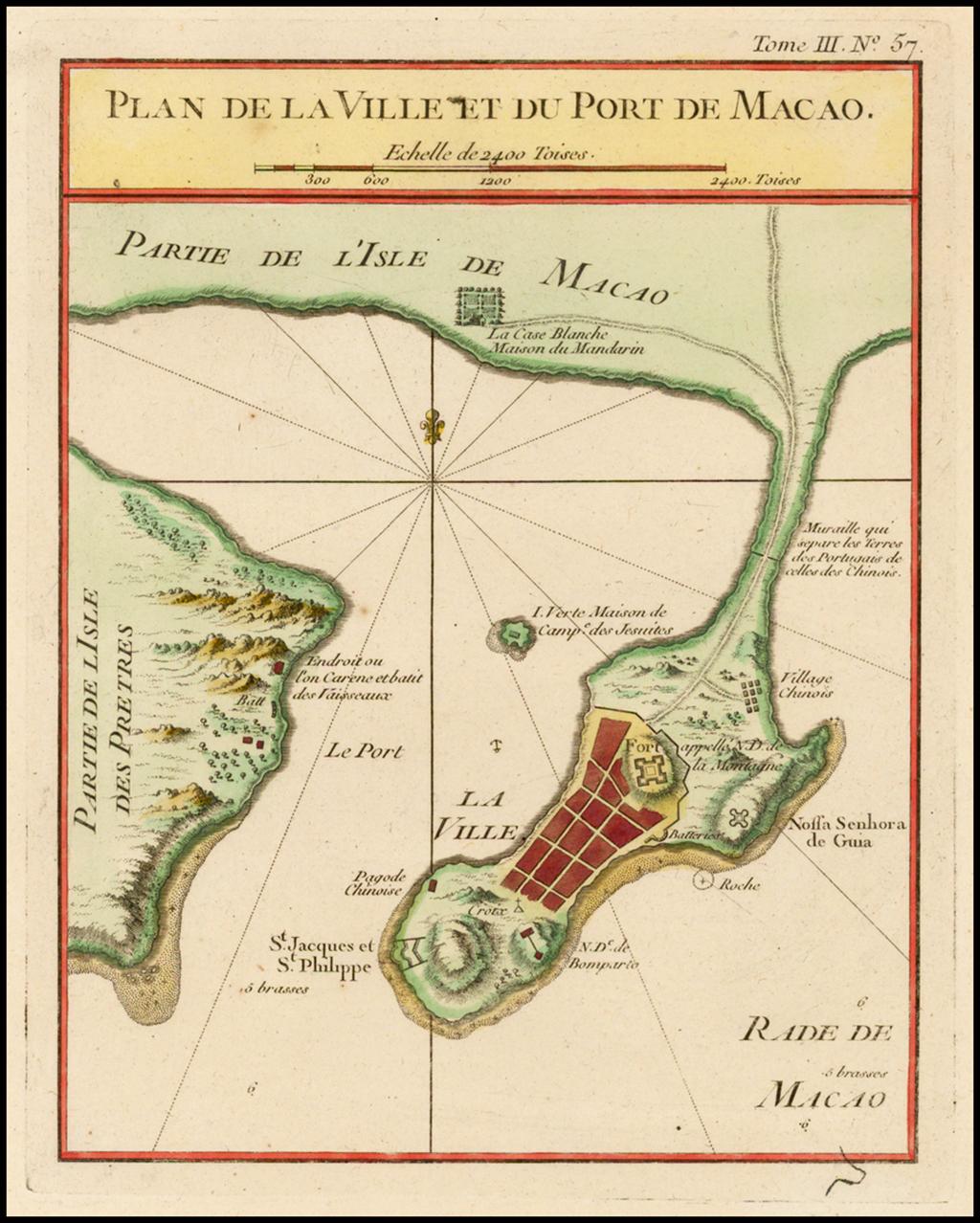 Plan de la Ville et du Port de Macao By Jacques Nicolas Bellin