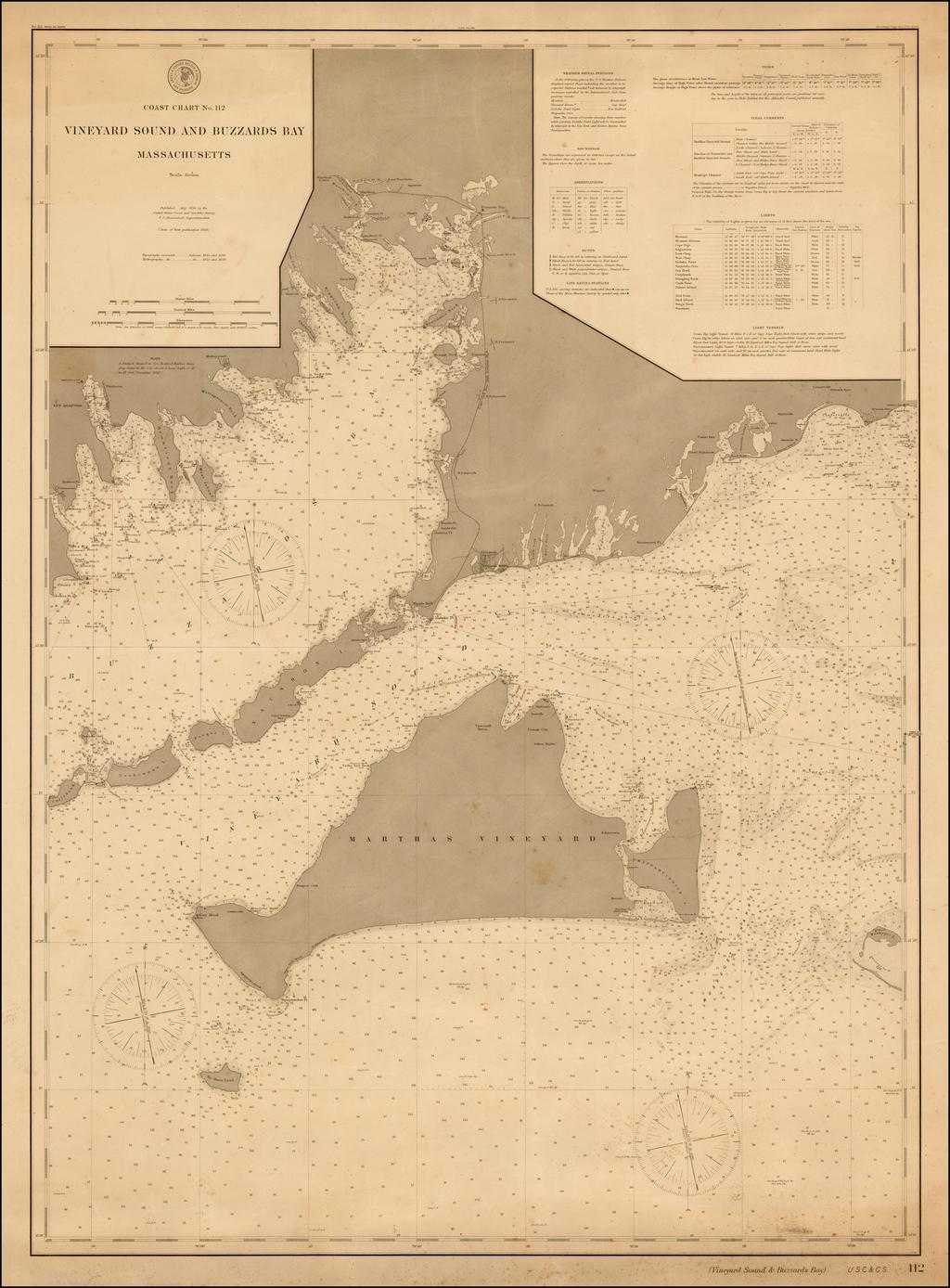 Vineyard Sound and Buzzards Bay Massachusetts By U.S. Coast & Geodetic Survey