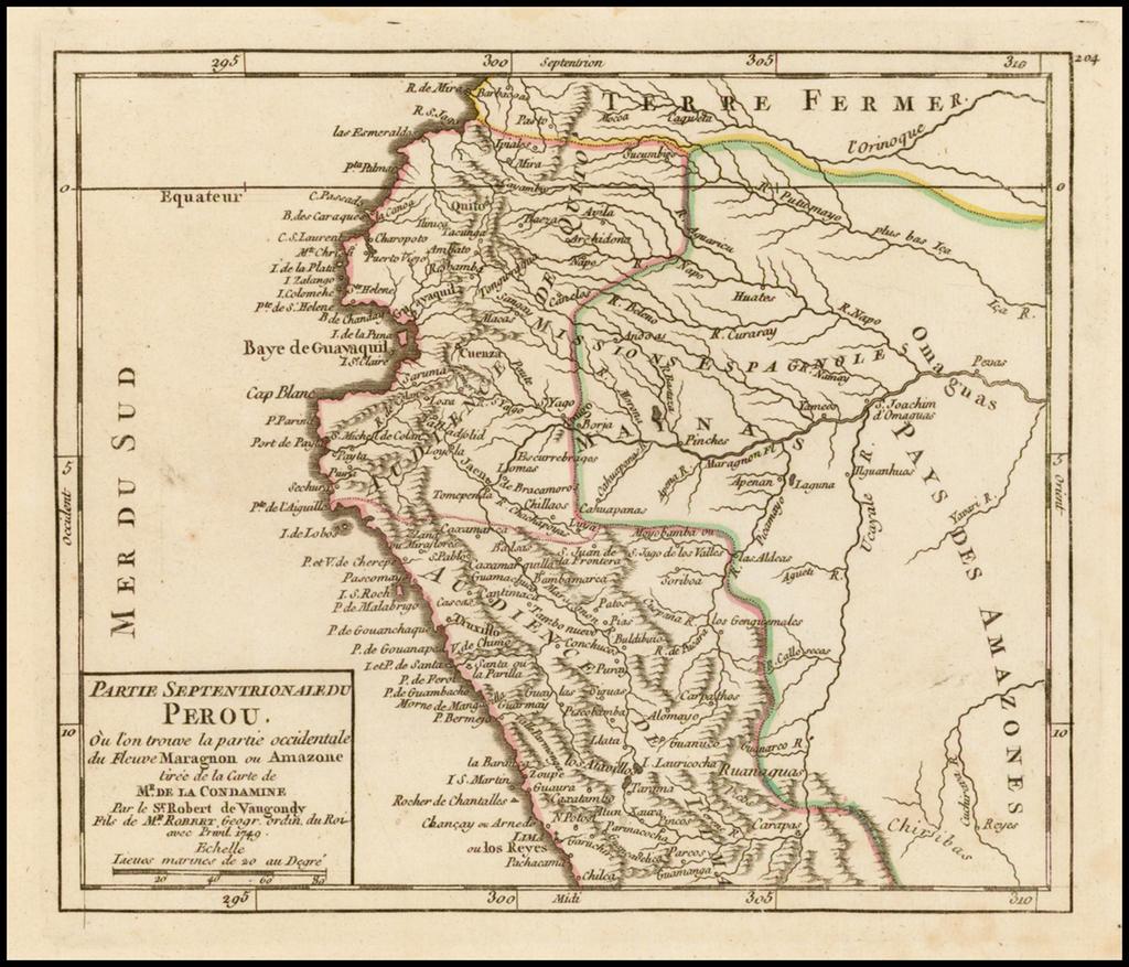 Partie Septenrionale du Perou ou l'on trouve la partie occidentale du Fleuve Maragnon ou Amazone Tiree de la Carte de Mr. de la Condamine . . . 1749 By Didier Robert de Vaugondy