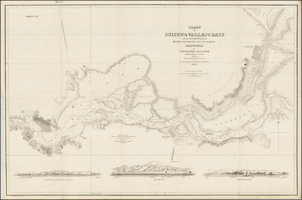 Chart of Suisun & Vallejo Bays with the Confluence of the Rivers Sacramento and San Joaquin California By Cadwalader Ringgold Commander U.S. Navy . . . 1850 By Cadwalader Ringgold