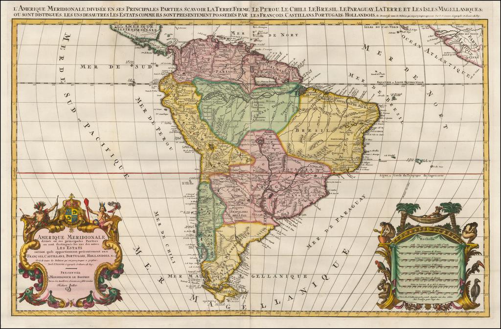 Amerique Meridionale divisee en ses Principales Parties . . .  By Alexis-Hubert Jaillot