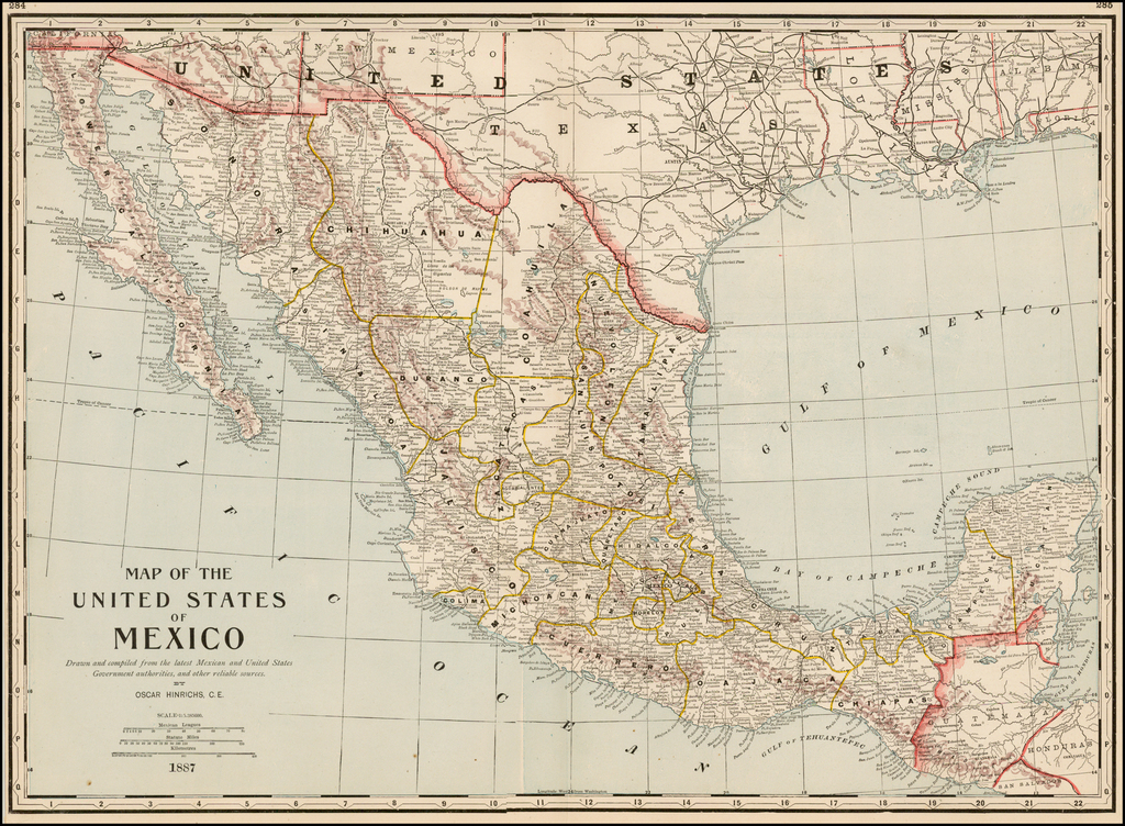 Map of the United States of Mexico  Drawn and compiled from the latest Mexican and United States Government authorities and other reliable source.  By Oscar Hinrichs, C.E.   By George F. Cram