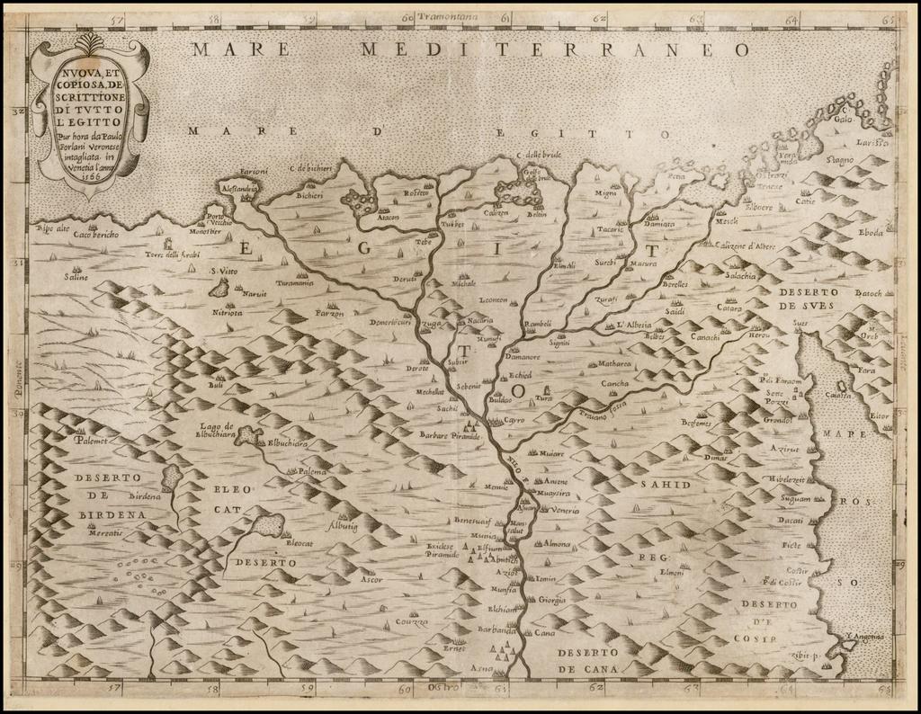 Nuova et Copiosa Descrittione Di Tutto L'Egitto Pur hora de Paulo Forlani Veronese intagliata in Venetia lanno 1566 By Paolo Forlani