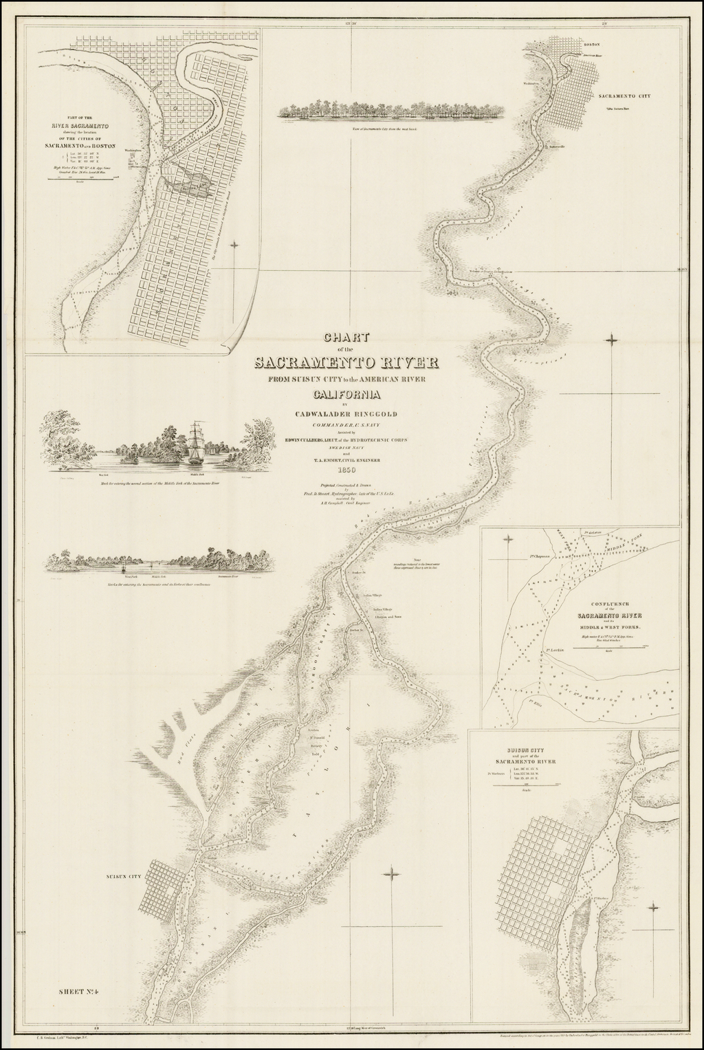 Chart of the Sacramento River From Suisun City to the American River California . . . 1850 By Cadwalader Ringgold