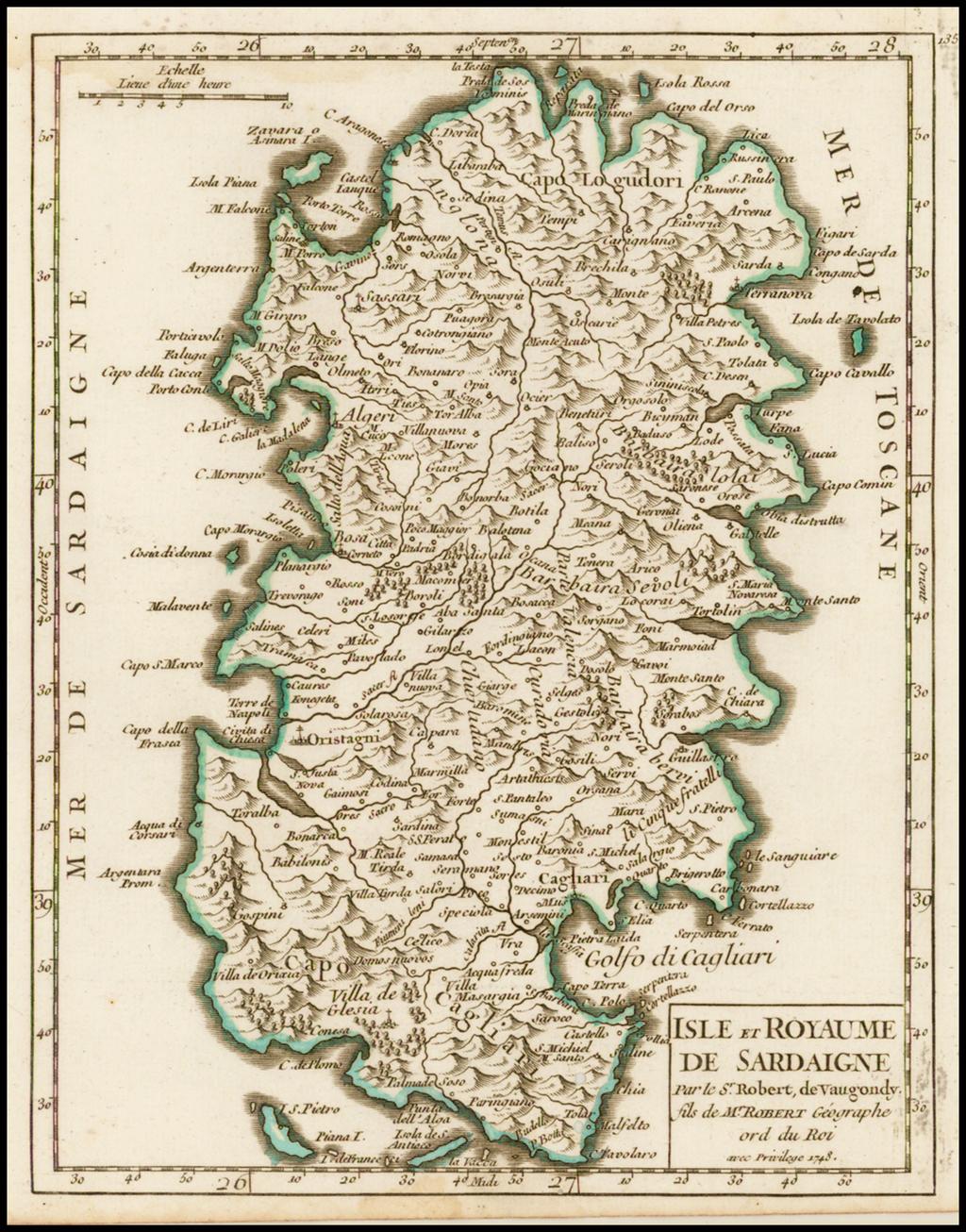 Isle et Royaume de Sardaigne . . . 1748 By Didier Robert de Vaugondy