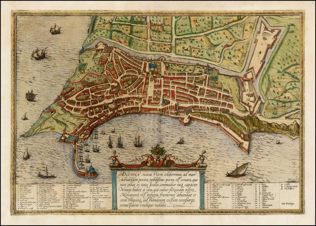 Ancona Civitas Piceni celeberrima . . .  By Georg Braun  &  Frans Hogenberg