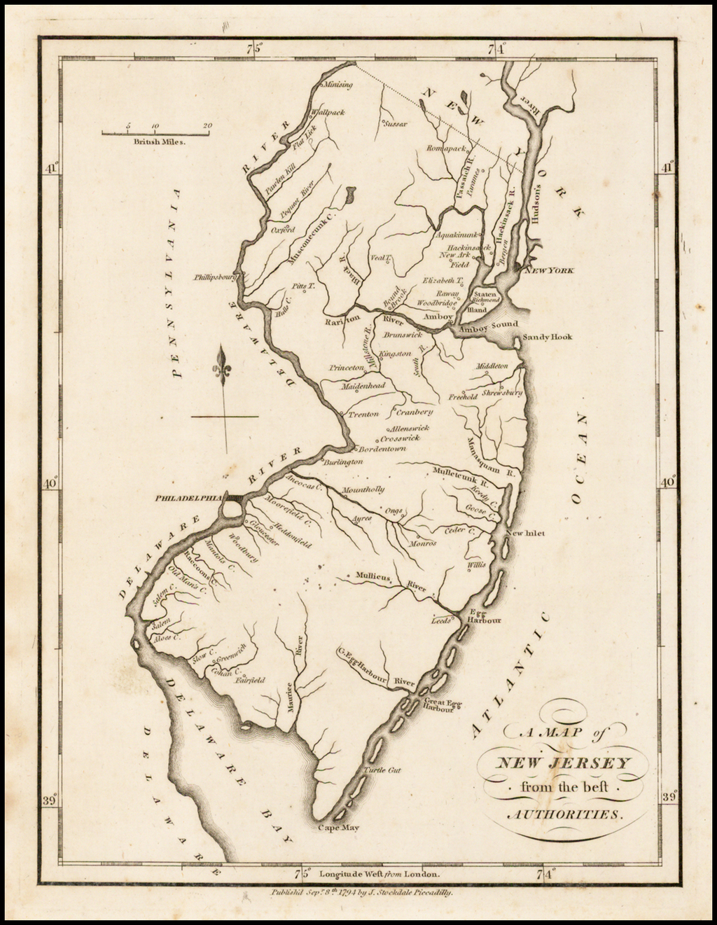 A Map of New Jersey from the best Authorities . . . 1794 By John Stockdale