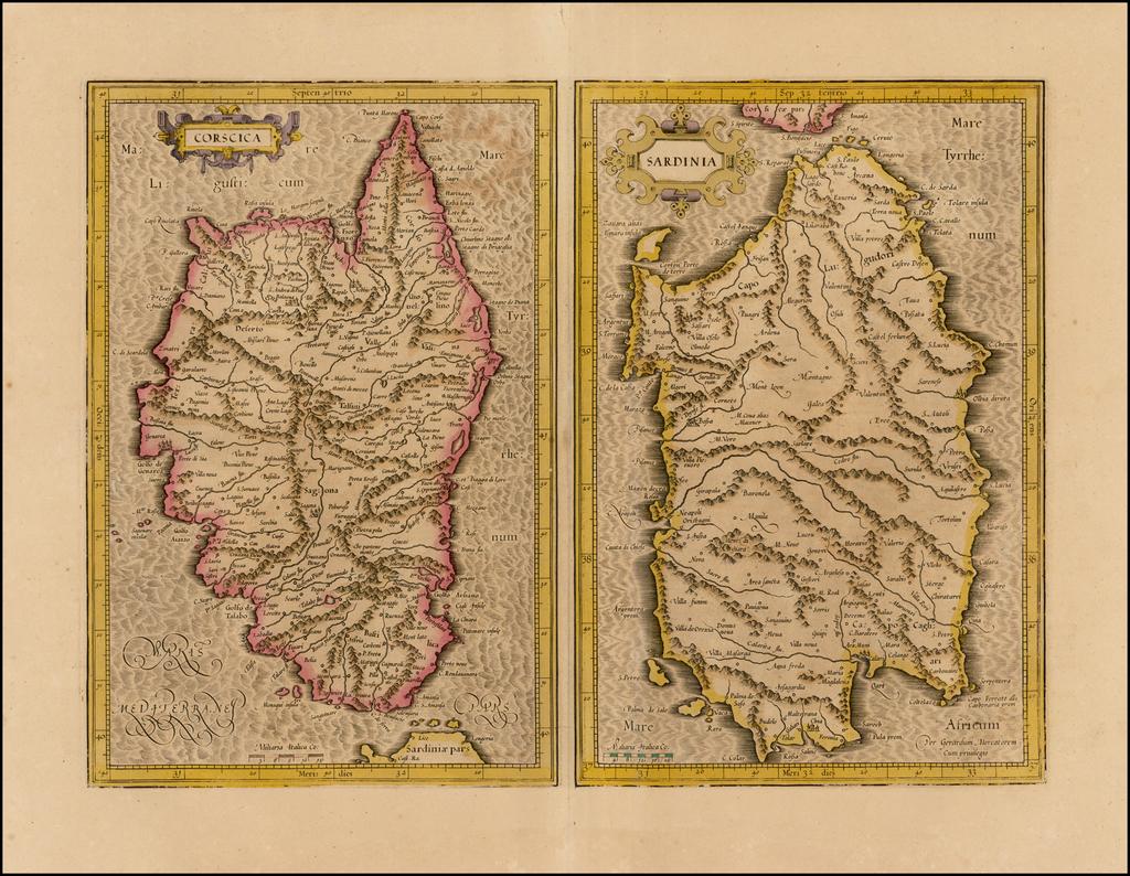 Corsica [and] Sardinia  By  Gerard Mercator