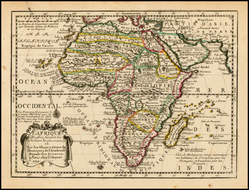 L'Afrique Dressee suivant les Auteurs les plu nouveau . . . 1719 By Jacques Chiquet