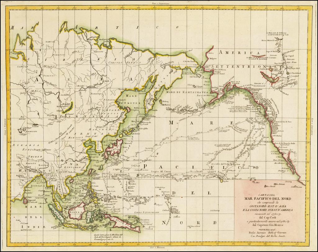 Carta Del Mar Pacifico Del Nord che comprende la Costanord-Est D'Asia e la Costanord Ouest D'America . . . 1796 By Antonio Zatta