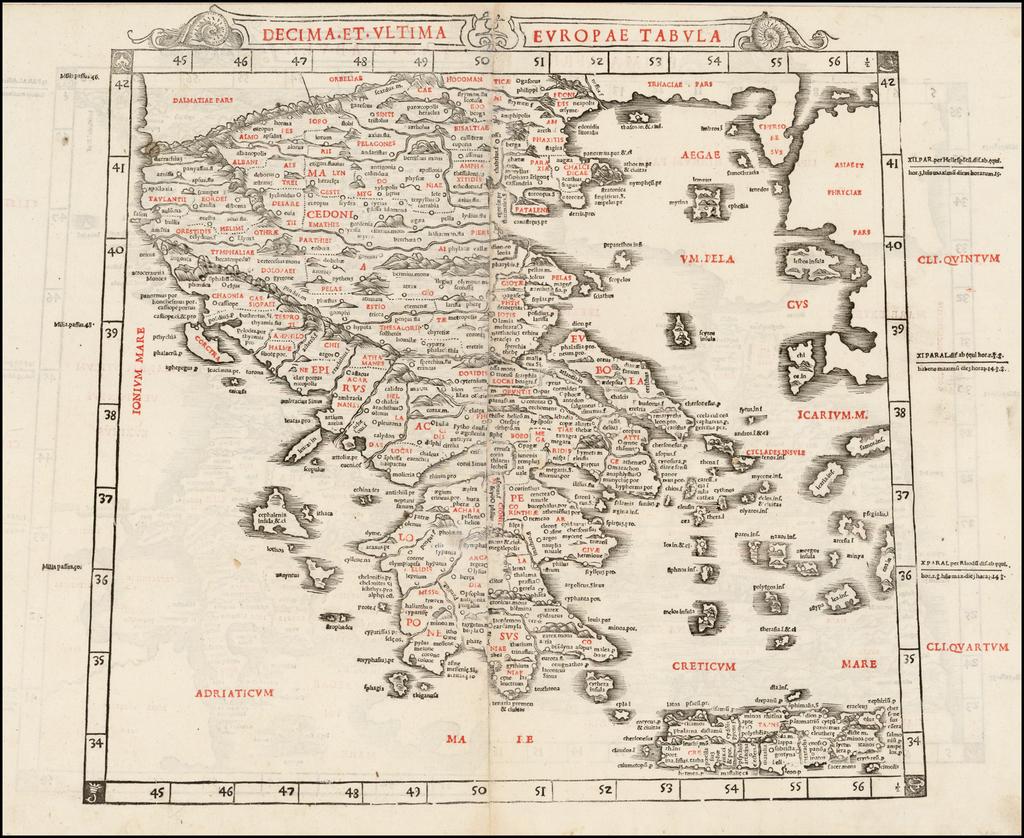 Decima et Ultima Europa Tabula [Greece] By Bernardus Sylvanus