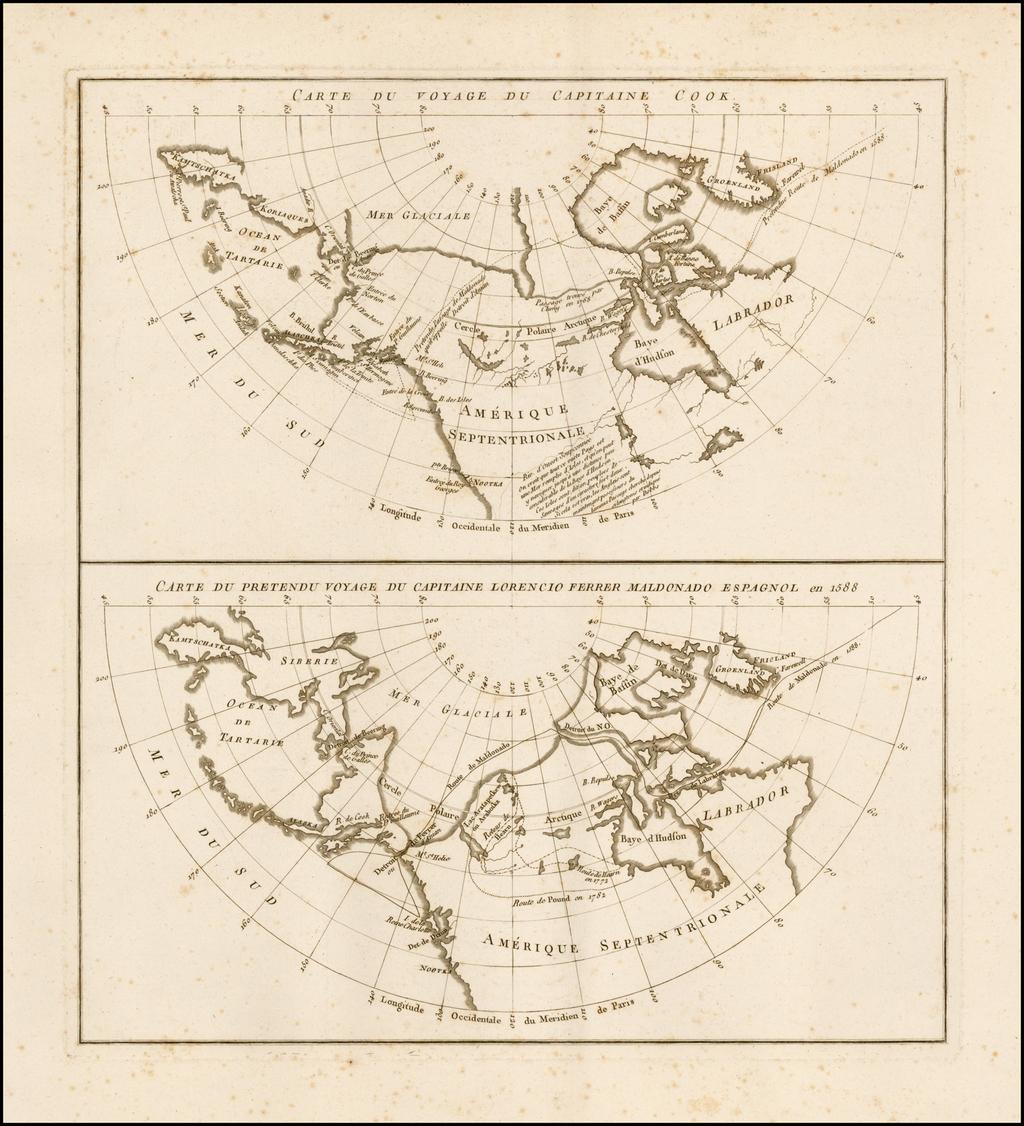 Carte Du Voyage Du Captaine Cook (and) Carte Du Pretendu Voyage Du Capitaine Lorencio Ferrer Maldonado Espagnol en 1588 By Jean Benjamin de LaBorde