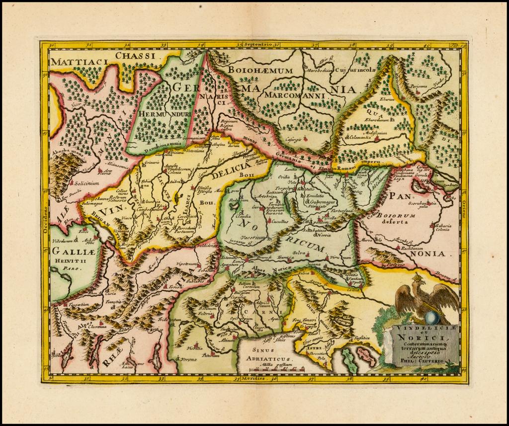 Vindeliciae et Norici Conterminarum op terrarum antiqua descriptio By Philipp Clüver