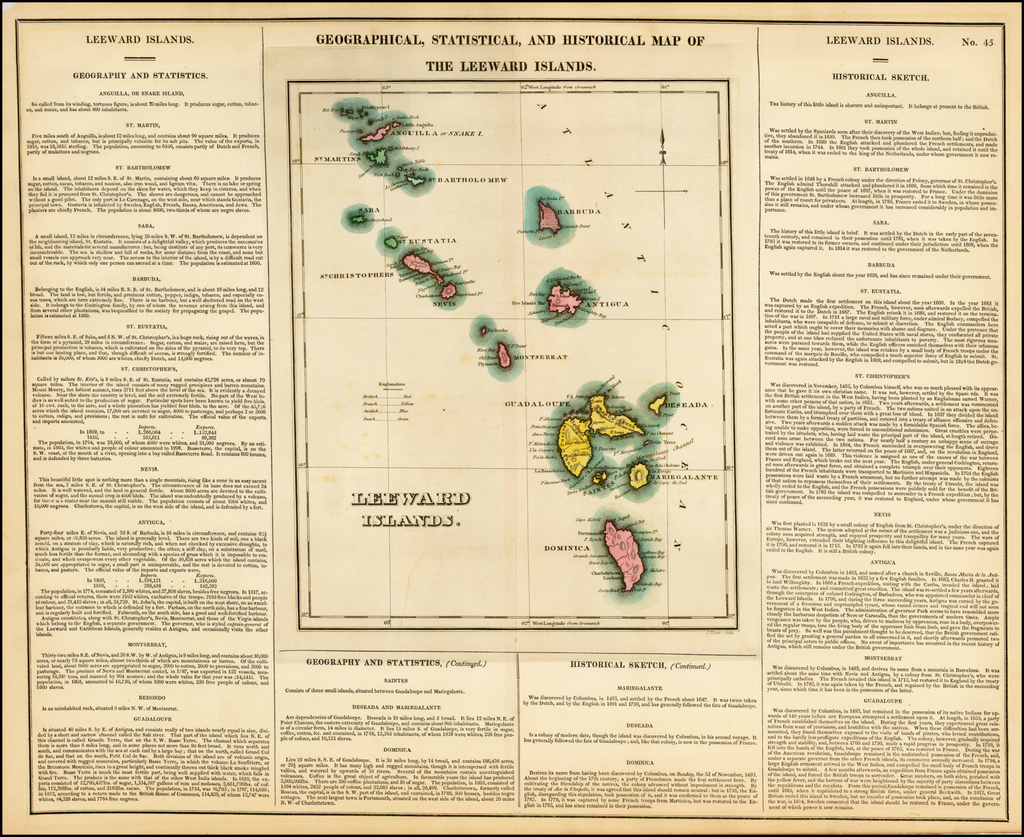 Geographical, Statistical and Historical Map of The Leeward Islands By Henry Charles Carey  &  Isaac Lea
