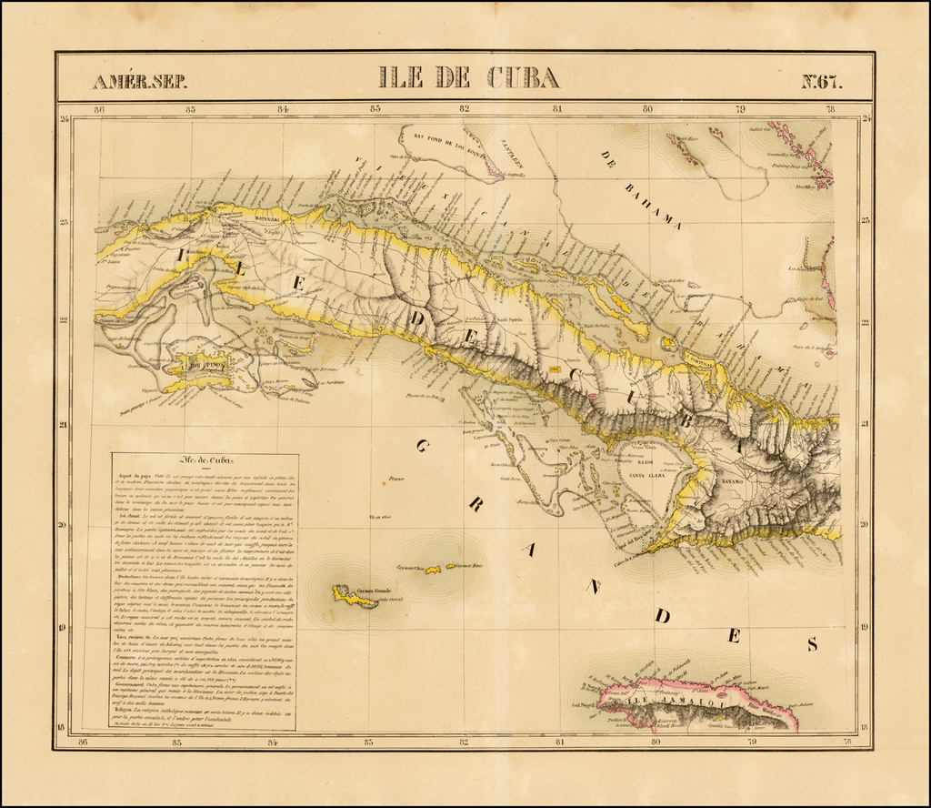Ile De Cuba  Amer. Sep. No. 67.  (Includes the Cayman Islands and Jamaica) By Philippe Marie Vandermaelen
