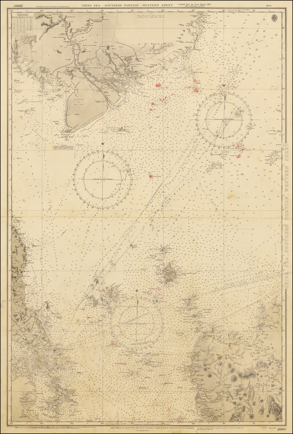 [Singapore, Malaysia, Cambodia, Vietnam]  China Sea - Southern Portion - Western Sheet.  Compiled from the latest Surveys, 1881.  with corrections to 1953. By British Admiralty