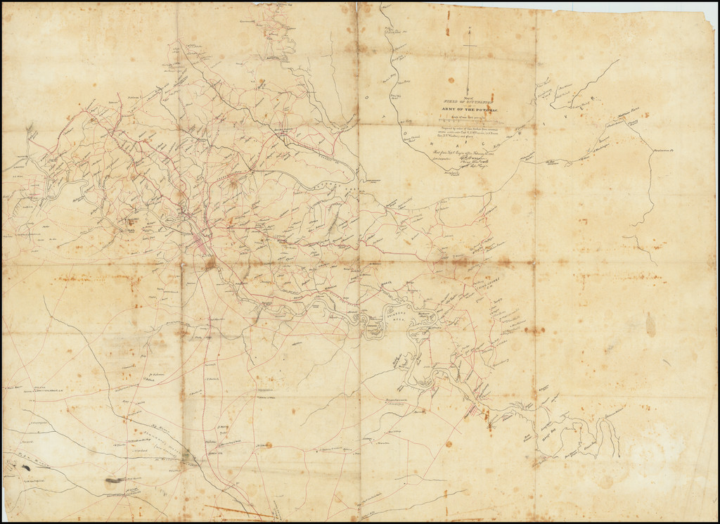 [Manuscript Civil War Map signed by G.K. Warren] Map of Field Occupation of Army of the Potomac.  Prepared by order of Gen. Hooker from reconnaisances made under Capt. R.S. Williamson, Lt. N. Bowen, Gen. D.P. Woodbury and others.  Sent from Top'l Eng'rs office February 25, 1863 . . .  By G.K. Warren