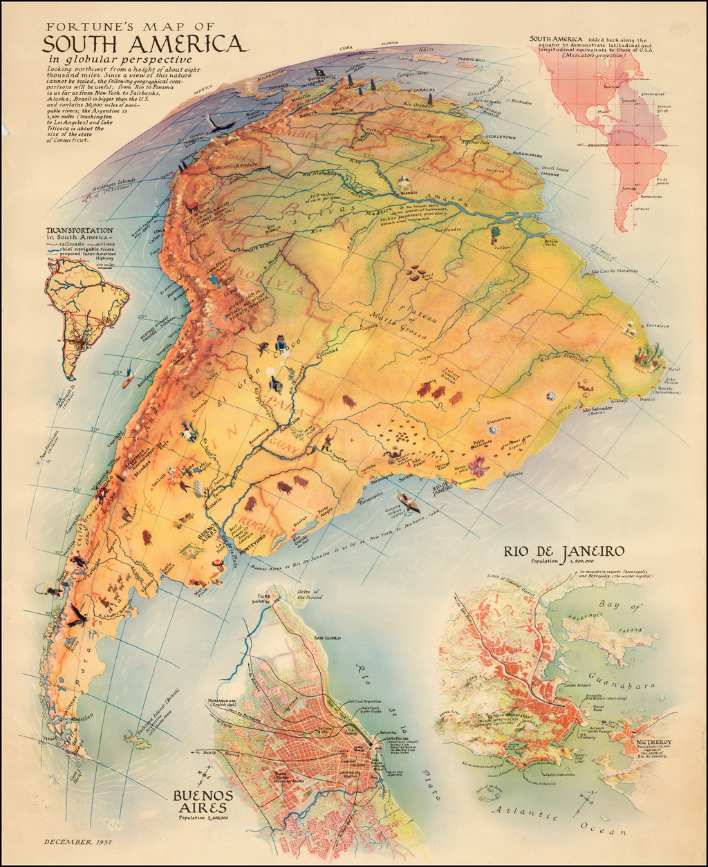 Fortune's Map of South America in globular perspective . . .  By Fortune Magazine