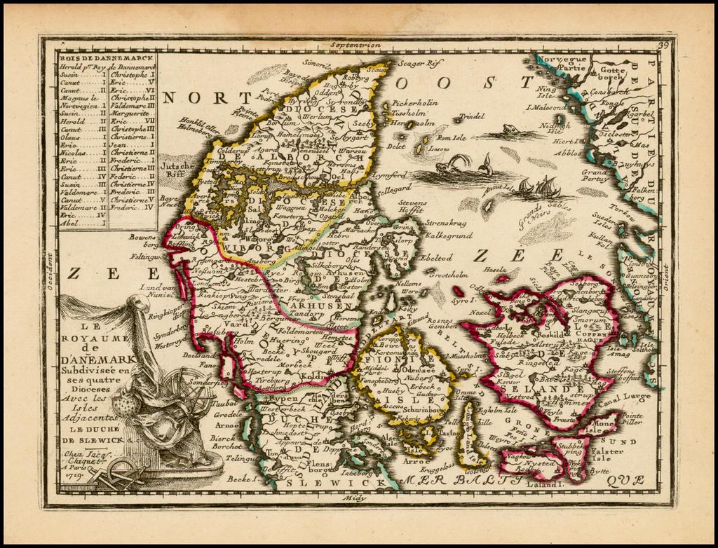 Les Royaume de Danemark Subdivsee en ses quatre Dioceses Avec les Isles Adjacentes Le Duche De Slewick &c. . . 1719 By Jacques Chiquet