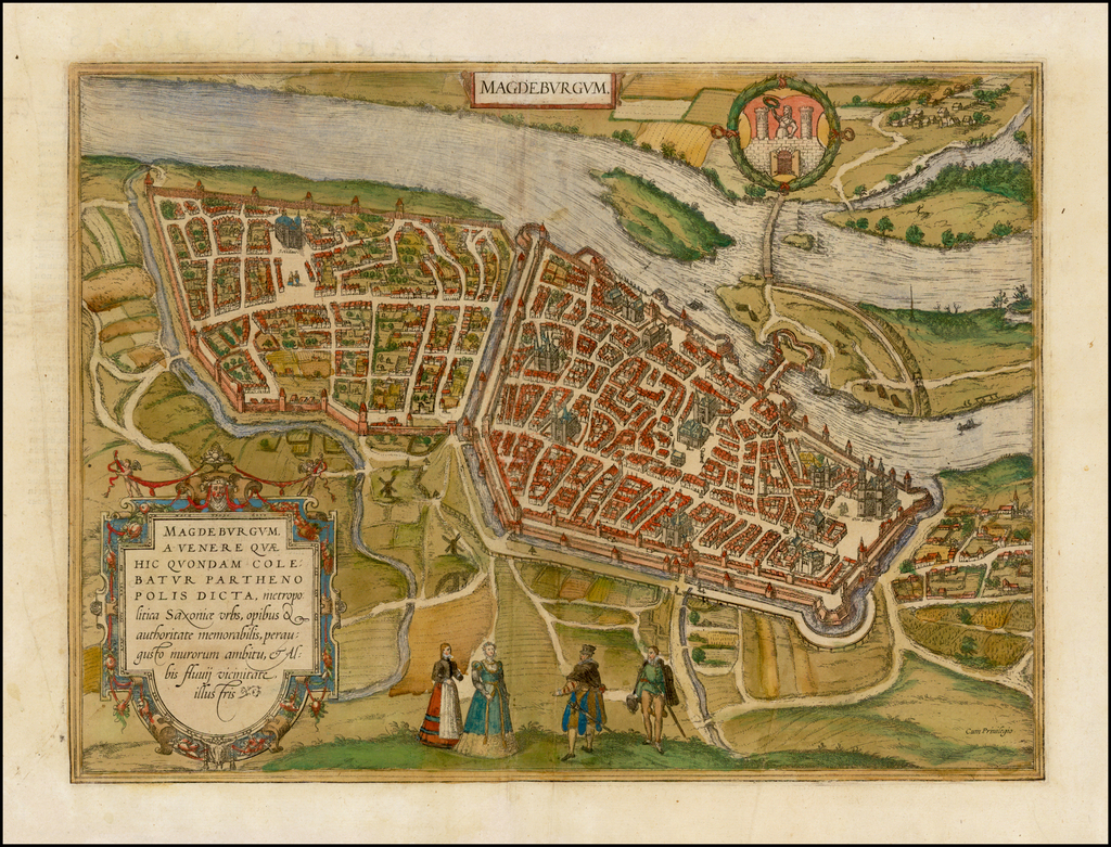 Magdeburgum . . .  Metropolitica Saxoniae Urbs By Georg Braun  &  Frans Hogenberg