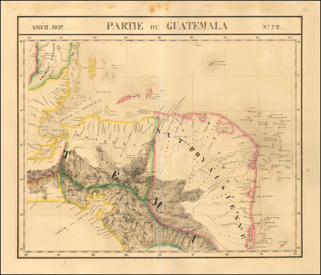 Amer. Sep. No. 72.  Partie Du Guatemala [with Nicaragua and Costa Rica] By Philippe Marie Vandermaelen