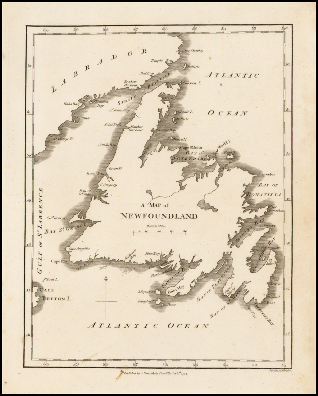 A Map of Newfoundland By John Stockdale
