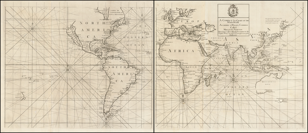 A Correct Sea Chart of the Whole World, According to Wright's, Commonly Called Mercator's, Projection  This Chart is Most Humbly Inscribed to the Right Hono.ble the Lords Commissioners of the Admiralty. By John Senex / Edmund Halley / Nathaniel Cutler