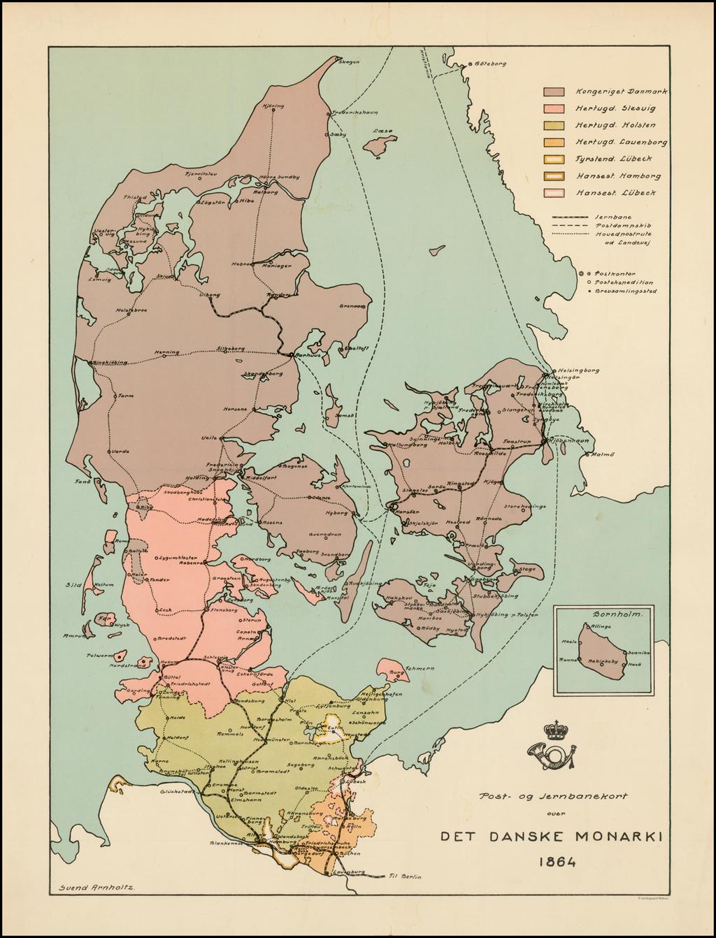 Post-og Jernbanekort over Det Danske Monarki 1864 By Svend Arnholtz