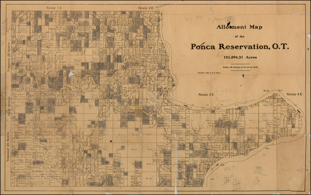 Allotment Map of the Ponca Indian Reservation in the Territory of Oklahoma, Compiled from Government Records by R. S. Steele, Chief Clerk Ponca, Oto, and Oakland Indian Agency, White Eagle, Oklahoma, June 30, 1902.  (with manuscript additions) By R. S. Steele