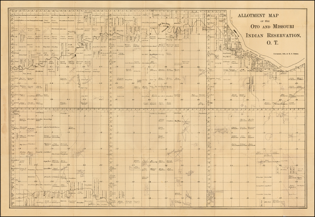 Allotment Map of the Oto and Missouri Indian Reservation, O.T.  Copyright 1902 By R.S. Steele. By R. S. Steele