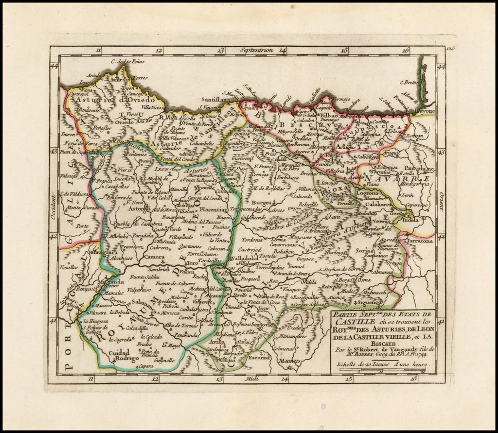 Partie Septle. Des Etats de Castille ou se trouvent les Roymes. Des Asturies, de Leon, De La Castille Vielle, et La Biscaye . . . 1749 By Didier Robert de Vaugondy